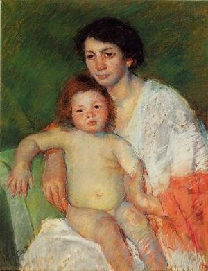 Mary Cassatt - Nude Baby on Mother's Lap Resting Her Arm on the Back of the Chair