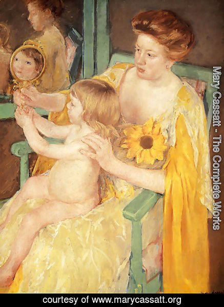 Mary Cassatt - Mother Wearing A Sunflower On Her Dress