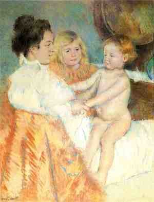 Mary Cassatt - Mother, Sara and the Baby (counterproof)