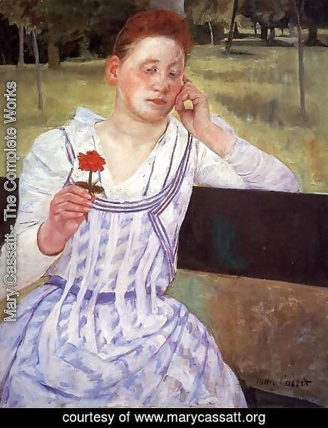 Mary Cassatt - Reverie (or Woman with a Red Zinnia)