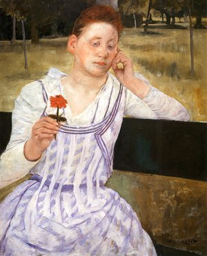 Mary Cassatt - Woman With A Red Zinnia