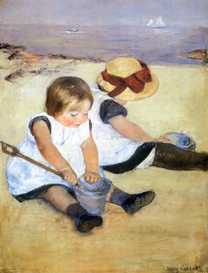 Mary Cassatt - Children Playing On The Beach