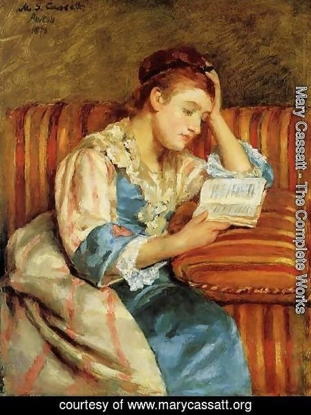 Mary Cassatt - Mrs. Duffee Seated on a Striped Sofa, Reading