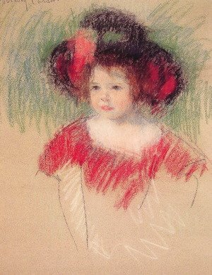 Mary Cassatt - Margot In Big Bonnett And Red Dress