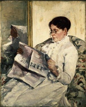 Mary Cassatt - Reading Le Figaro, 1878