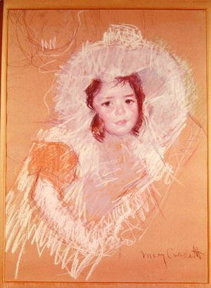 Mary Cassatt - Bust of a Young Girl or Margot Lux with a Large Hat