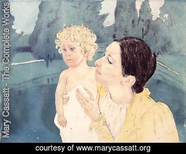 Mary Cassatt - Mother and Child before a Pool, c.1898