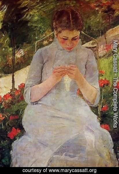 Mary Cassatt - Young Woman Sewing in the garden, c.1880-82