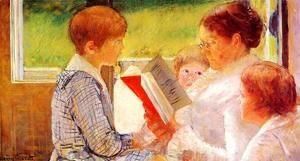 Mary Cassatt - Mrs Cassatt Reading to her Grandchildren, 1888
