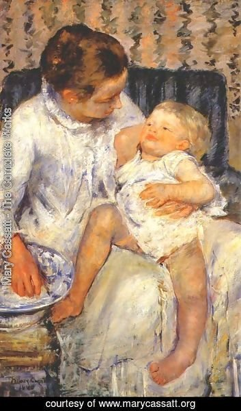 Mary Cassatt - Mother about to Wash her Sleepy Child, 1880