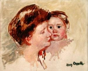 Mary Cassatt - Mother in Profile with Baby Cheek to Cheek (No.2), c.1909