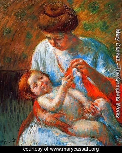 Mary Cassatt - Baby Lying on His Mother's Lap, Reaching to Hold a Scarf