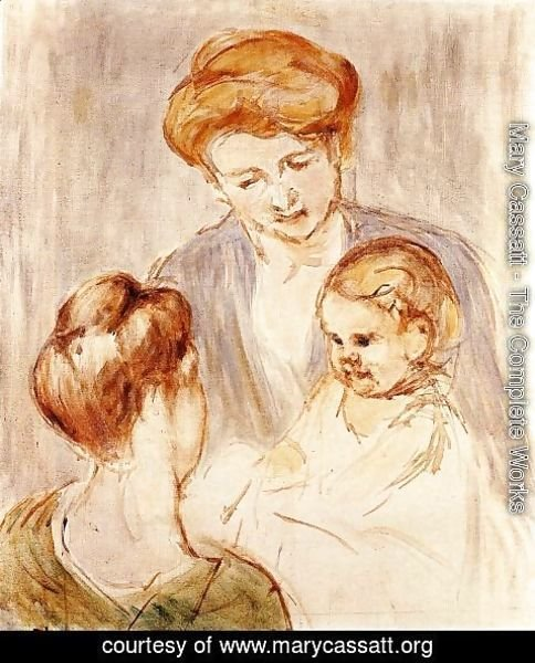 Mary Cassatt - A Baby Smiling At Two Young Women