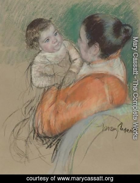 Mary Cassatt - Mother Louise Holding up her Blue-Eyed Child