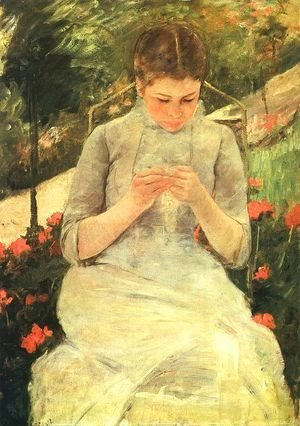 Mary Cassatt - Girl Sewing