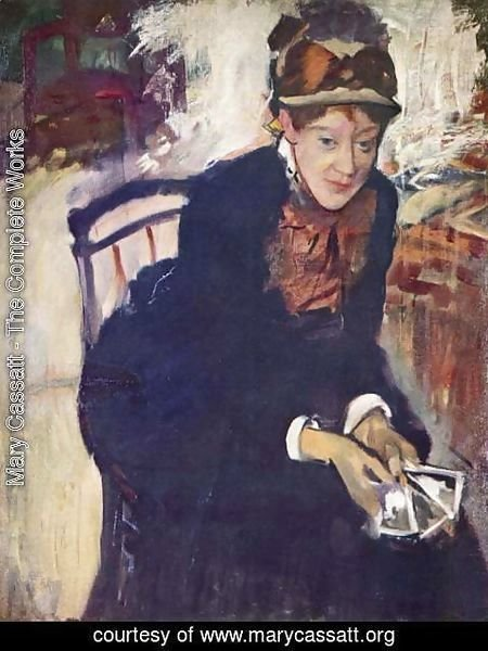 Mary Cassatt - Portrait of Miss Cassatt, holding the cards