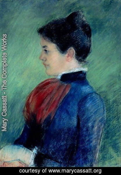 Mary Cassatt - Study of a Woman in a Blue Blouse with a Red Ruff 1895