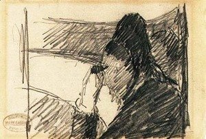 Mary Cassatt - A woman in black at the opera