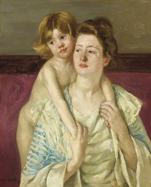 Mary Cassatt - Antoinette Holding Her Child by Both Hands