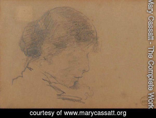 Mary Cassatt - Head of a Woman Reading