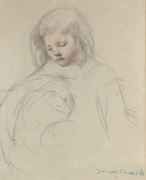 Mary Cassatt - Sketch for 'Sara...Feeding Her Dog'