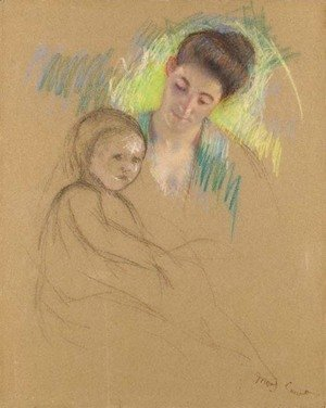 Mary Cassatt - Sketch of Mother Jeanne Looking Down at Her Baby