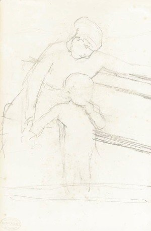 Mary Cassatt - Sketch of Nurse Seated on a Bench, Baby Standing Beside Her