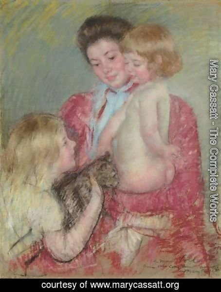 Mary Cassatt - Reine Lefebvre With Blond Baby And Sara Holding A Cat (Maternite)