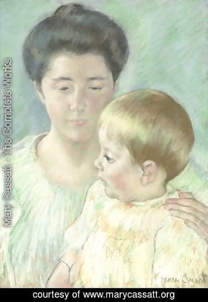 Mary Cassatt - Mother Looking Down At Her Blond Baby Boy