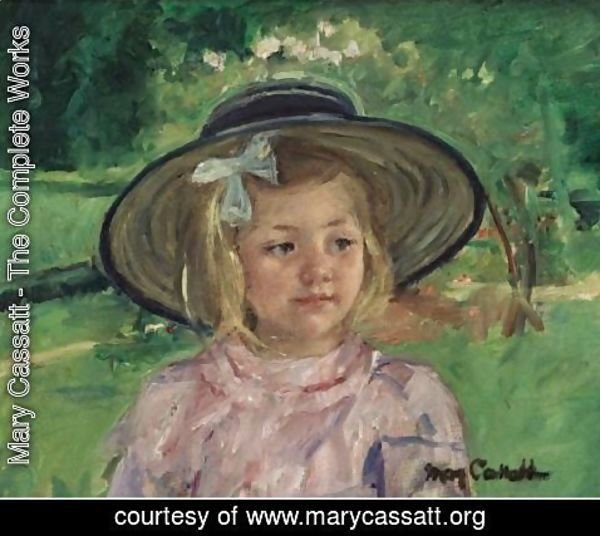 Mary Cassatt - Little Girl In A Stiff, Round Hat, Looking To Right In A Sunny Garden