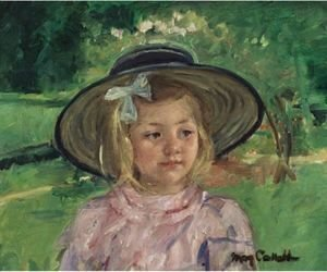 Little Girl In A Stiff, Round Hat, Looking To Right In A Sunny Garden
