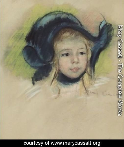 Mary Cassatt - Head Of Simone In A Green Bonnet With Wavy Brim