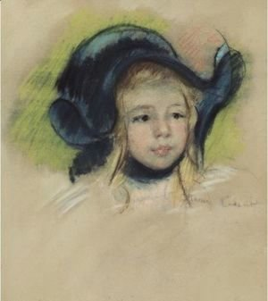 Head Of Simone In A Green Bonnet With Wavy Brim