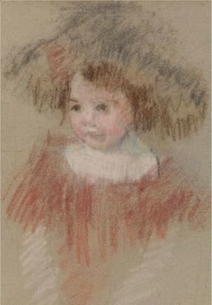 Mary Cassatt - Margot In A Big Hat (Fillette, Corsage Rouge)