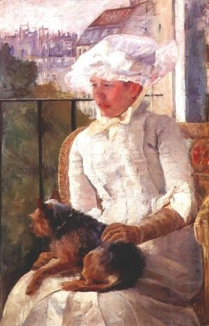 Mary Cassatt - Susan on a balcony holding a dog