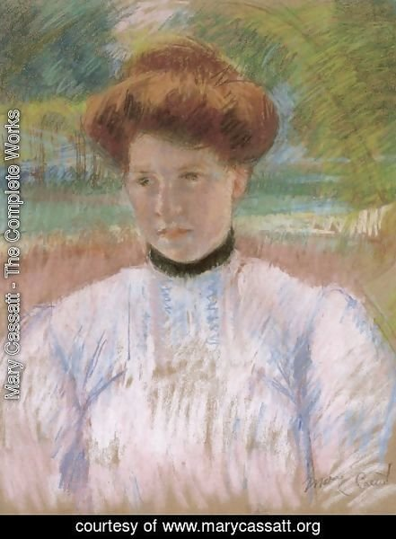 Mary Cassatt - Young Woman with Auburn Hair in a Pink Blouse