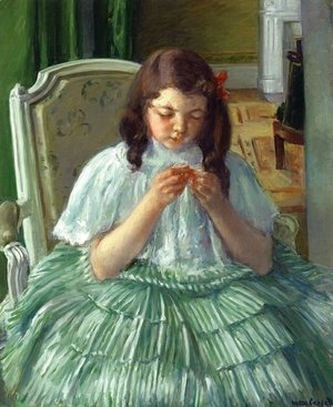 Mary Cassatt - Francoise in Green, Sewing