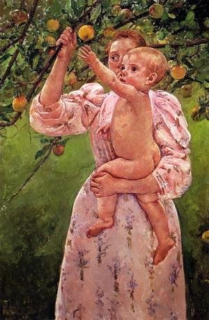Mary Cassatt - Baby Reaching For An Apple Aka Child Picking Fruit