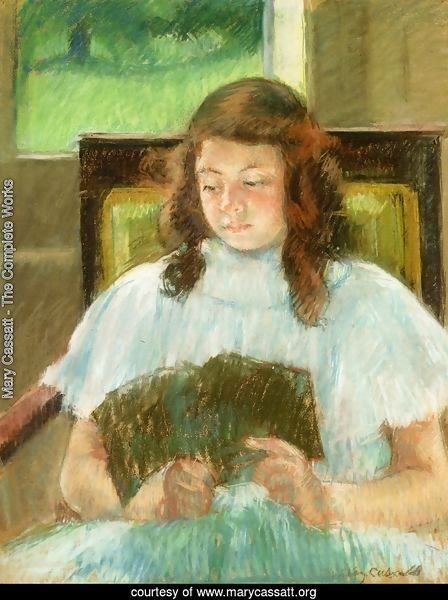 Francoise In A Square Backed Chair  Read Aka Young Girl Reading Young Girl In A Blue Dress