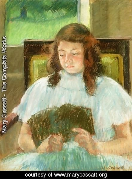 Mary Cassatt - Francoise In A Square Backed Chair  Read Aka Young Girl Reading Young Girl In A Blue Dress