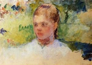 Mary Cassatt - Girls Head   Green Background