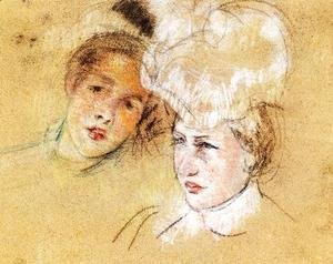 Mary Cassatt - Heads Of Leontine And A Friend