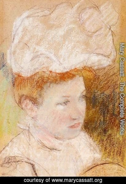 Mary Cassatt - Leontine In A Pink Fluffy Hat