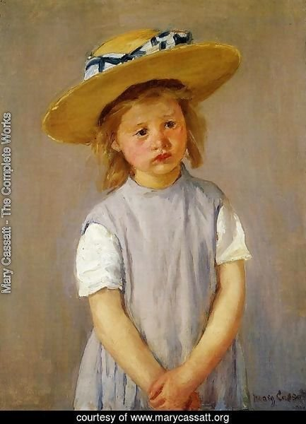 Little Girl In A Big Straw Hat And A Pinnafore