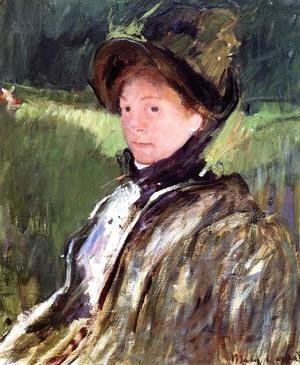 Lydia Cassatt In A Green Bonnet And A Coat