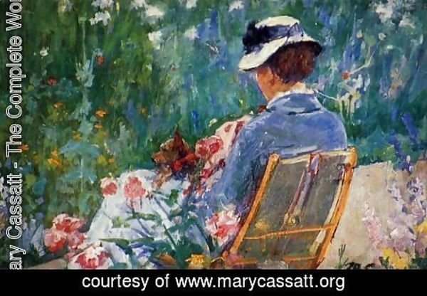 Mary Cassatt - Lydia Seated In The Garden With A Dog In Her Lap