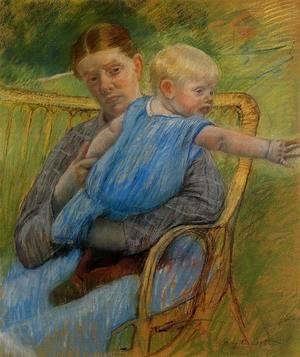 Mary Cassatt - Mathilde Holding A Baby Who Reaches Out To The Right