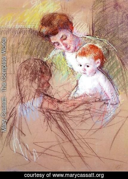 Mary Cassatt - Mother And Daughter Looking At The Baby
