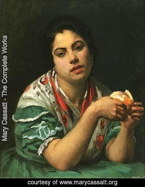 Mary Cassatt - Peasant Woman Peeling An Orange