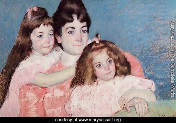 Portrait Of Madame A  F  Aude And Her Two Daughters